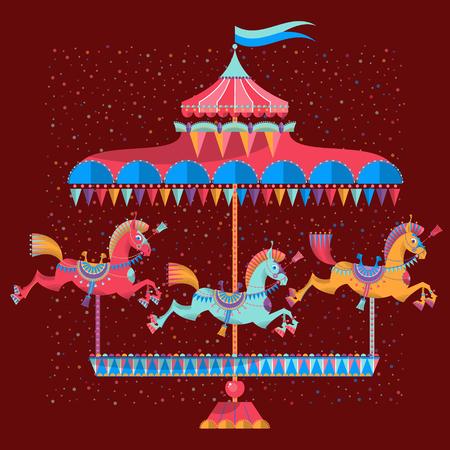カラフルな馬とビンテージのカルーセル。