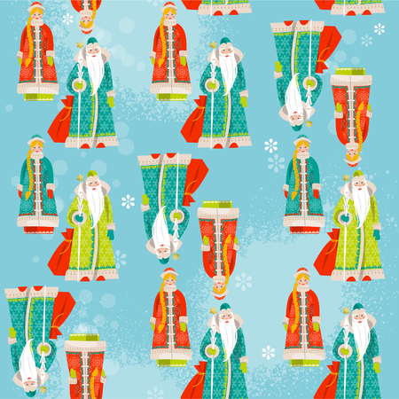 grandfather frost: Ded Moroz Grandfather Frost and Snegurochka Snow Maiden. Russian Christmas. Seamless background pattern.  Vectores