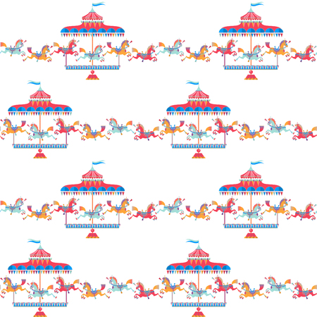 Vintage carousel horse. Seamless background pattern.