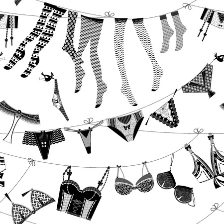 bra: Laundry drying on a washing lines. Black and white lingerie. Seamless background pattern. Vector illustration.