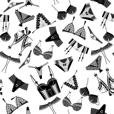 garter belt: Woman lingerie, bra and pants. Black and white. Seamless background pattern. Vector illustration.