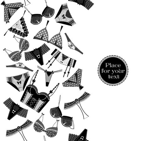 lenceria: Cartel retro con una ropa interior de la mujer. Blanco y negro. Modelo inconsútil del fondo. Ilustración del vector.