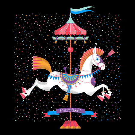 Greeting card with vintage carousel horse. Vector illustration Illustration