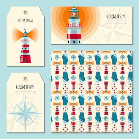 Set of 4 universal cards with Lighthouse. Template, hang tags. Vector illustration