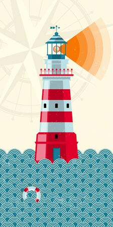 lighthouse beam: Lighthouse and waves. Nautical concept. Vector illustration