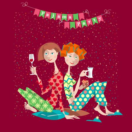 pijamada: Dos chicas en una fiesta de pijamas. Fiesta de pijamas. Ilustración vectorial