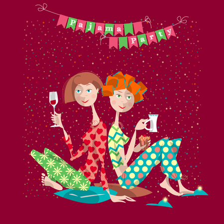 women glasses: Two girls in a slumber party. Pajama party. Vector illustration Illustration