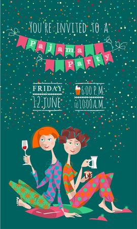 pijamada: Dos chicas en una fiesta de pijamas. Fiesta de pijamas. Invitación. Ilustración vectorial