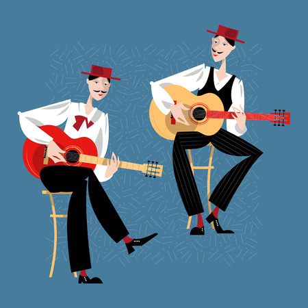 Two men playing a guitar. Spanish flamenco guitarists. Vector illustration