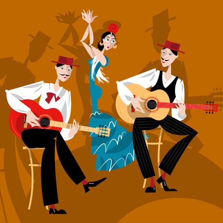 spanish fan: Flamenco. Dancing girl and two men playing a guitar.  Illustration