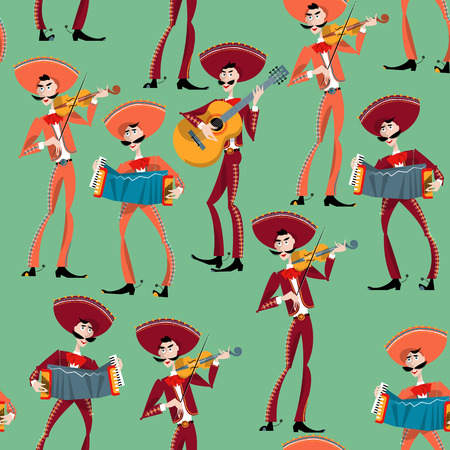 Mariachi band. Mexican traditions. Seamless background pattern.