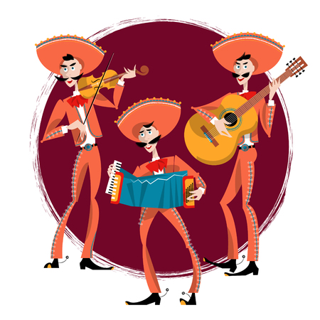 mariachi: Mariachi band. Mexican traditions.  Illustration