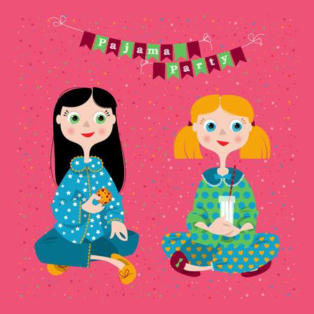 pijamada: Dos chicas en una fiesta de pijamas. Fiesta de pijamas. Ilustraci�n vectorial