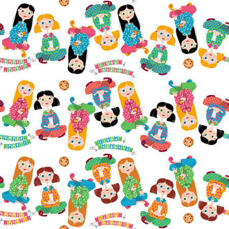 slumber party: Pajama party. Seamless background pattern.