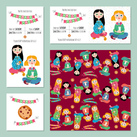 pajama party: 5 invitation cards for Pajama party. Template.