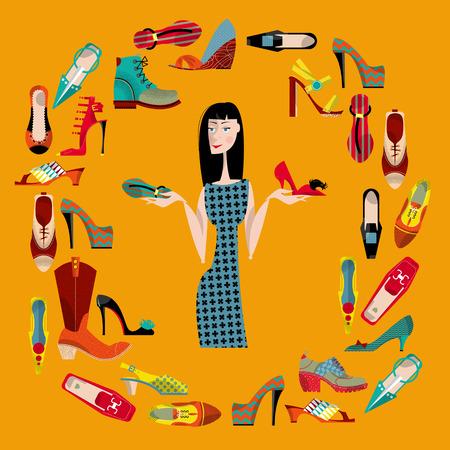 pijamada: Mujer con la colecci�n de zapatos. Tiempo de compras. Vectores