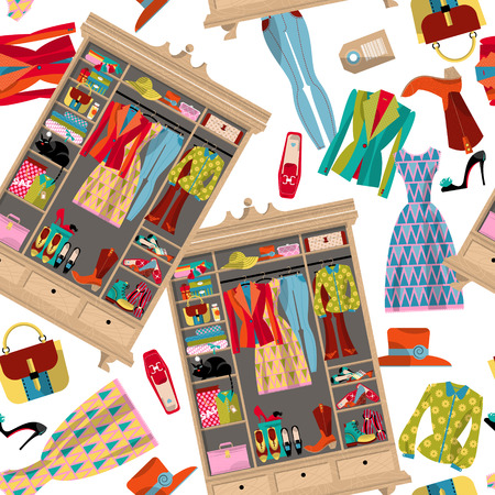 shoe: Wardrobe for cloths. Closet with clothes, bags, boxes and shoes. Seamless background pattern. Vector illustration
