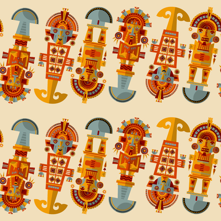ceremonial: Inca ceremonial knifes. Tumi.  Seamless background pattern. Vector illustration Illustration