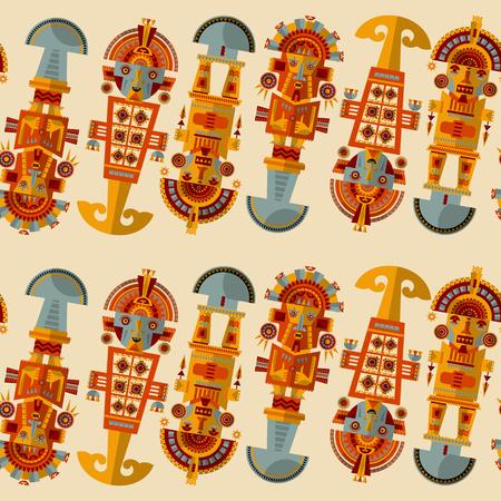 inca: Inca ceremonial knifes. Tumi.  Seamless background pattern. Vector illustration Illustration