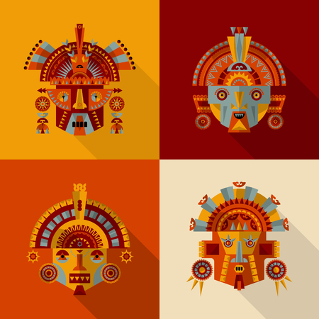 Set of 4 Inca masks. Vector illustration