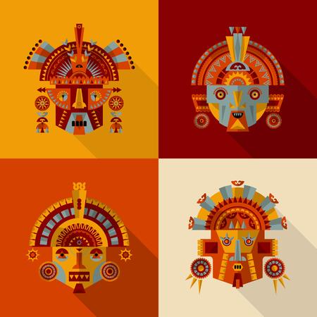 Set van 4 Inca maskers. vector illustratie Stock Illustratie
