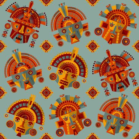 inca: Inca masks. Seamless background pattern. Vector illustration