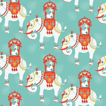 Decorated indian elephant with maharaja on a back. Seamless background pattern. Vector illustration