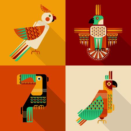 loro: Conjunto de aves en estilo geométrico. Tucán, loro, perico, cacatúa en estilo mexicano. Ilustración vectorial Vectores