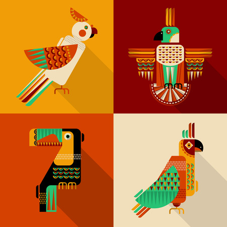 Set of birds in geometric style. Toucan, parrot, parakeet, cockatoo in Mexican style. Vector illustration