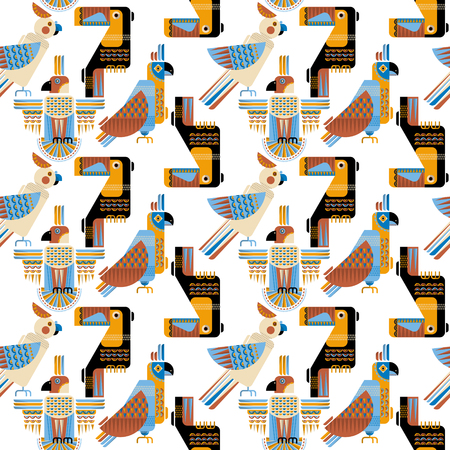Seamless background pattern of birds in geometric style. Toucan, parrot, parakeet, cockatoo in Mexican style. Vector illustration