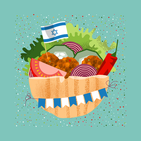 Falafel with the Israeli flag and garland for independence day. Vector illustration