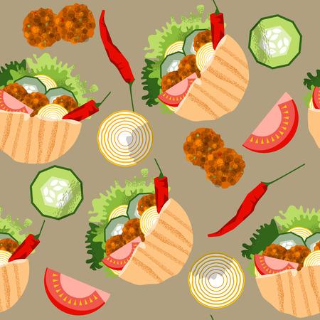 Falafel stuffed pita with vegetables. Seamless background pattern. Vector illustration Illustration
