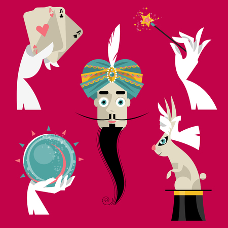 magie: Coffret de magie. Magicien avec chapeau magique dessus, baguette magique, gants blancs, cristal magique, cartes � jouer. Vector illustration
