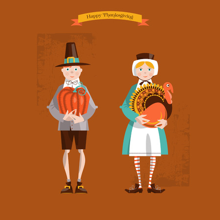 Boy and girl pilgrims with turkey and pumpkin. Thanksgiving card. Vector illustration