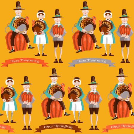 Boy and girl pilgrims with turkey and pumpkin Thanksgiving card. Seamless background pattern. Vector illustration 向量圖像