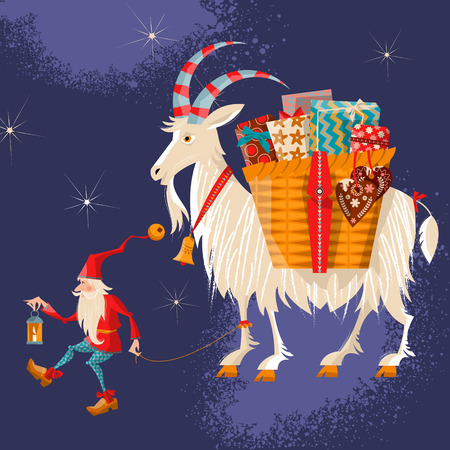 Scandinavian Christmas tradition. Christmas Gnome and Yule goat with a gift basket. Vector illustration