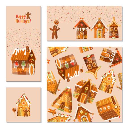 casita de dulces: Conjunto de 4 tarjetas universales con casas de jengibre festivo. Decoración navideña. Modelo. ilustración vectorial Vectores