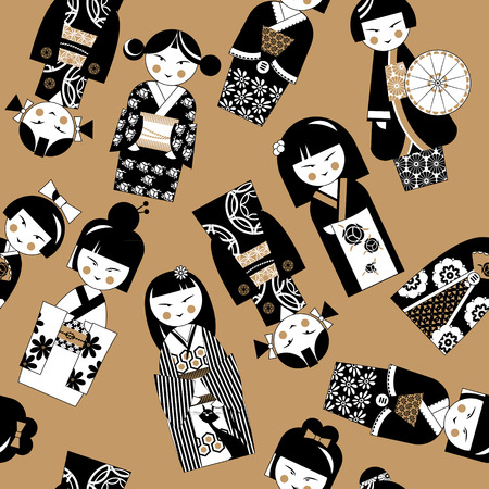 fortune cat: Traditional japanese doll. Kokeshi dolls. Black and white. Seamless background pattern. Vector illustration