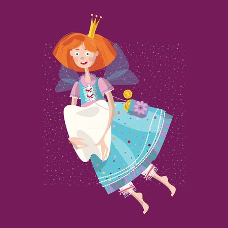 Tooth fairy flying with tooth. Vector illustration