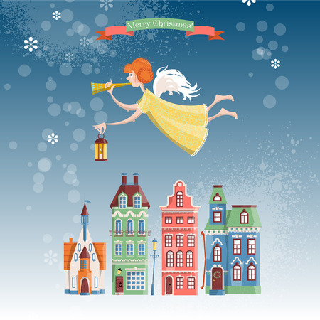 Christmas angel with trumpet and lamp flying over the winter city. Merry Christmas. Vector illustration