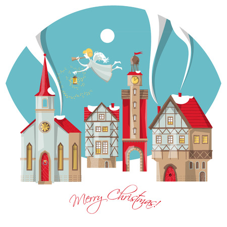 herald: Christmas angel with trumpet and lamp flying over the winter city. Merry Christmas. Vector illustration