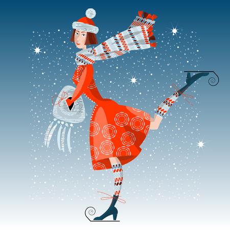 winter girl: Girl on skates. Winter card, retro style. Vector illustration