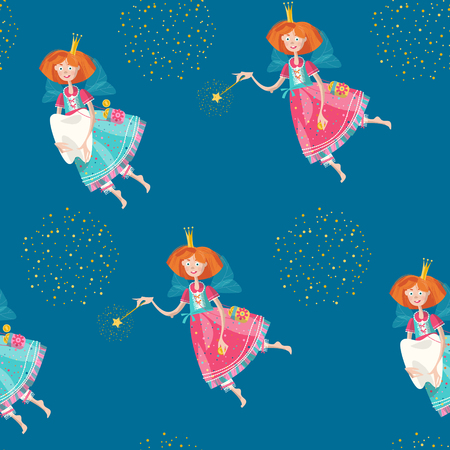 girl magic wand: Tooth fairies holding teeth and magic wands. Seamless background pattern. Vector illustration