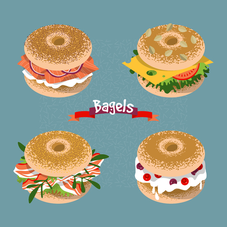 Set of 4 bagels with various topping. Vector illustration Vetores