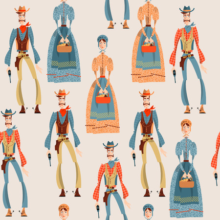 herder: Wild west. Cowboy and girl. Seamless background pattern. Vector illustration