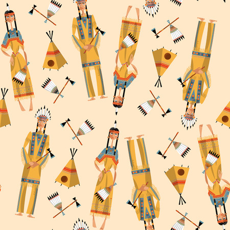 Native american indian couple in traditional clothing. Seamless background pattern. Vector illustration Illustration