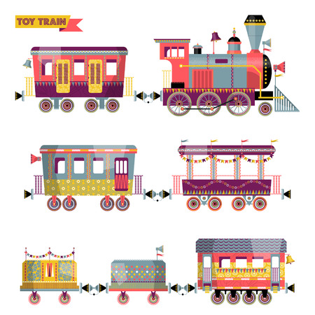 Toy train. Locomotive with several multi-colored coaches. Vector illustration. Stock Illustratie