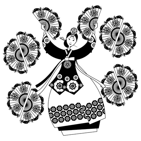 korea girl: Woman performing traditional Korean fan dance. Korean tradition. Black and white. Vector illustration