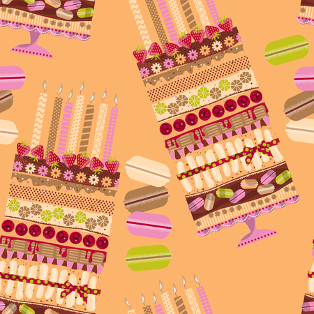 multilayer: Big multilayer cake with candles and macaroons. Seamless background pattern. Vector illustration. Illustration