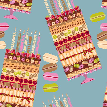 cake background: Big multilayer cake with candles and macaroons. Seamless background pattern. Vector illustration